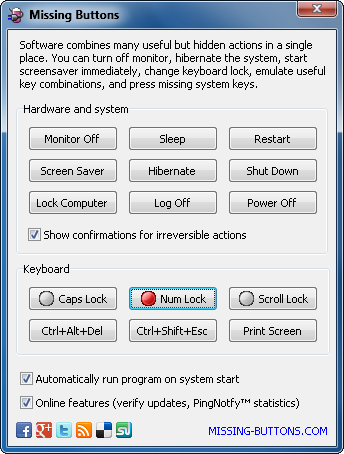 Screenshot of Missing Buttons software for Windows